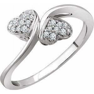 10K White 1/10 CTW Diamond Heart Promise Ring - Siddiqui Jewelers