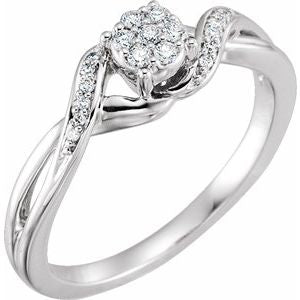 10K White 1/8 CTW Diamond Cluster Promise Ring - Siddiqui Jewelers