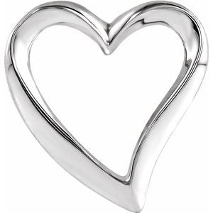 14K White Heart Slide Pendant - Siddiqui Jewelers