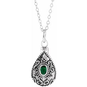 "Sterling Silver 6x4 mm Pear May Ash Holder Birthstone 18"" Necklace - Siddiqui Jewelers"