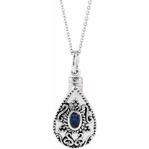 "Sterling Silver 6x4 mm Pear September Ash Holder Birthstone 18"" Necklace - Siddiqui Jewelers"
