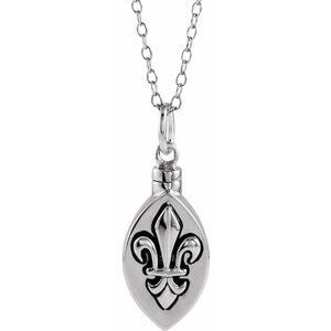 "Sterling Silver Fleur-de-lis Ash Holder 18"" Necklace - Siddiqui Jewelers"