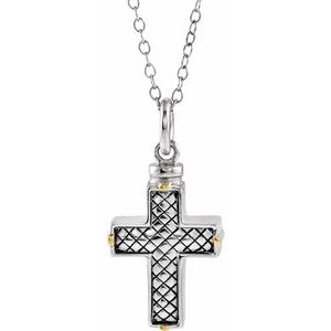 "Sterling Silver Woven Cross Ash Holder 18"" Necklace - Siddiqui Jewelers"