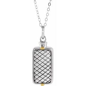 "Sterling Silver Rectangle Ash Holder 18"" Necklace - Siddiqui Jewelers"