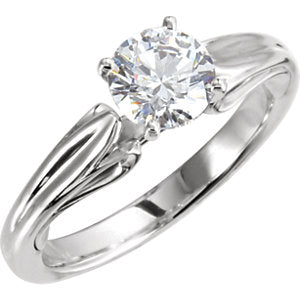 Continuum Sterling Silver 5.8 mm Round Cubic Zirconia Solitaire Ring - Siddiqui Jewelers