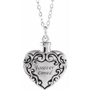 "Sterling Silver Forever Loved Ash Holder 18"" Necklace - Siddiqui Jewelers"