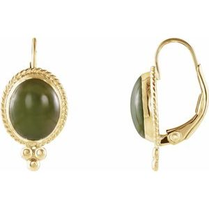 14K Yellow Nephrite Jade Cabochon Earrings - Siddiqui Jewelers