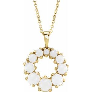 "14K Yellow Opal Halo-Style 18"" Necklace - Siddiqui Jewelers"