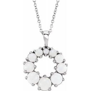 "Sterling Silver Opal Halo-Style 18"" Necklace - Siddiqui Jewelers"