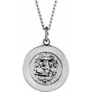 "Sterling Silver 18 mm Baptism Medal 18"" Necklace - Siddiqui Jewelers"