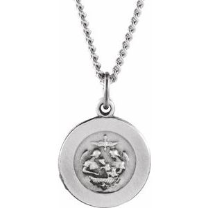"Sterling Silver 12 mm Baptism Medal 18"" Necklace - Siddiqui Jewelers"