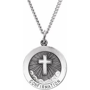 "Sterling Silver 22 mm Confirmation Medal with Cross 24"" Necklace - Siddiqui Jewelers"