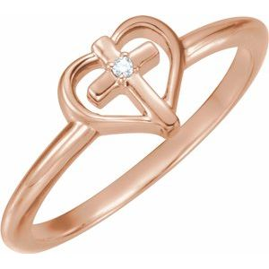 14K Rose .01 CT Diamond Cross with Heart Ring - Siddiqui Jewelers
