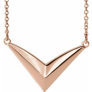 "14K Rose ""V"" 16-18"" Necklace - Siddiqui Jewelers"