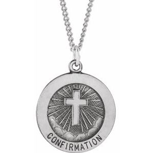 "Sterling Silver 18 mm Confirmation Medal with Cross 18"" Necklace - Siddiqui Jewelers"