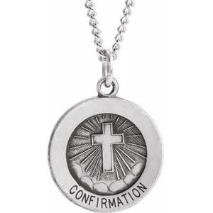 "Sterling Silver 15 mm Confirmation Medal with Cross 18"" Necklace - Siddiqui Jewelers"