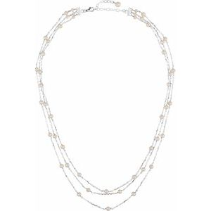 "Sterling Silver Freshwater Cultured Pearl 3 Tiered 17"" Necklace - Siddiqui Jewelers"