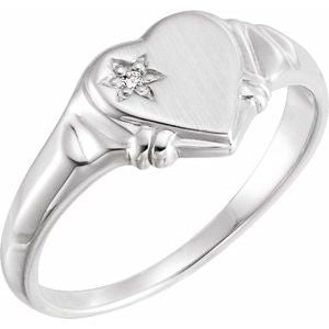14K White .005 CT Diamond Heart Ring - Siddiqui Jewelers