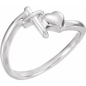 14K White Cross & Heart Chastity Ring - Siddiqui Jewelers