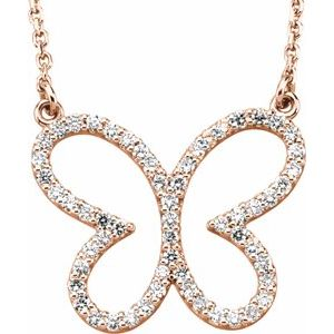 "14K Rose 1/4 CTW Diamond Butterfly 16"" Necklace - Siddiqui Jewelers"