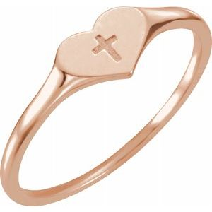 14K Rose Heart & Cross Ring Size 3 - Siddiqui Jewelers