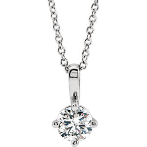 "14K White 3/8 CT Diamond Solitaire 16-18"" Necklace"