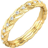 14K Yellow 1/6 CTW Diamond Sculptural-Inspired Eternity Band Size 5 - Siddiqui Jewelers