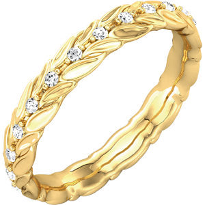 14K Yellow 1/6 CTW Diamond Sculptural-Inspired Eternity Band Size 6.5 - Siddiqui Jewelers