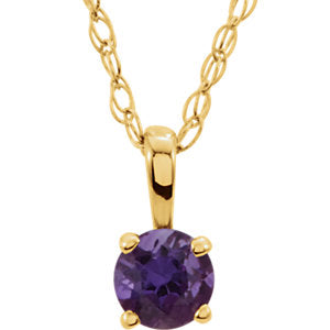 "14K Yellow 3 mm Round February Genuine Amethyst Youth Birthstone 14"" Necklace - Siddiqui Jewelers"