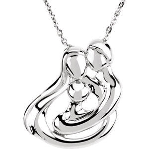 "Sterling Silver 1 Child Family 18"" Necklace"