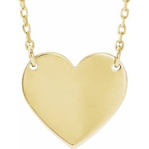 "14K Yellow 8x7.2 mm Heart 16-18"" Necklace - Siddiqui Jewelers"