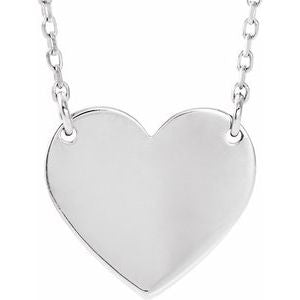 "14K White 8x7.2 mm Heart 16-18"" Necklace - Siddiqui Jewelers"