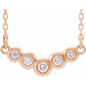 "14K Rose  1/8 CTW Diamond 18"" Necklace - Siddiqui Jewelers"