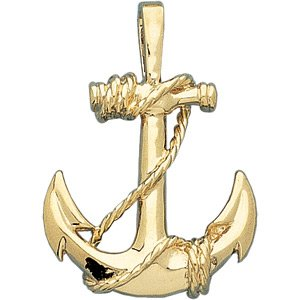 14K Yellow Anchor Pendant - Siddiqui Jewelers