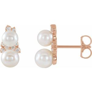 14K Rose Freshwater Cultured Pearl & 1/10 CTW Diamond Ear Climbers - Siddiqui Jewelers