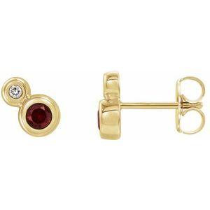 14K Yellow Mozambique Garnet & .03 CTW Diamond Earrings