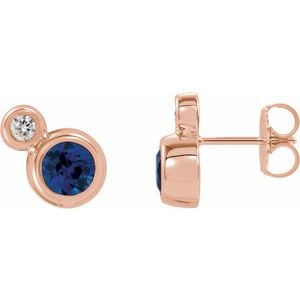 14K Rose Blue Sapphire & .03 CTW Diamond Earrings