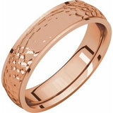 14K Rose 5 mm Half Round Edge Band with Hammer Finish Size 10 - Siddiqui Jewelers