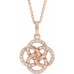 14K Rose 1/8 CTW Diamond Five-Fold Celtic Necklace - Siddiqui Jewelers