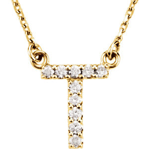 "14K Yellow Initial T 1/10 CTW Diamond 16"" Necklace - Siddiqui Jewelers"