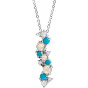 "14K White Ethiopian Opal Turquoise & .03 CTW Diamond 16-18"" Necklace - Siddiqui Jewelers"
