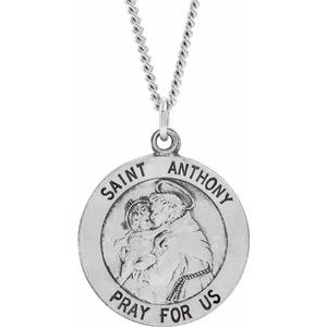 Sterling Silver 18 mm St. Anthony Medal - Siddiqui Jewelers
