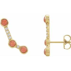 14K Yellow Pink Coral & .01 CTW Diamond Scattered Cabochon Ear Climbers - Siddiqui Jewelers