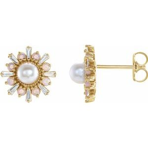 14K Yellow Akoya Pearl, White Opal & 1/6 CTW Diamond Earrings - Siddiqui Jewelers