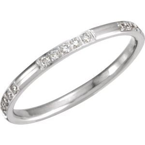 14K White 1/6 CTW Diamond Anniversary Band Size 5 - Siddiqui Jewelers