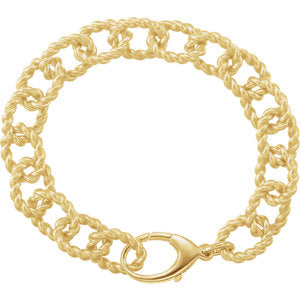 10.75 mm Sterling Silver Gold Plated Link Bracelet - Siddiqui Jewelers
