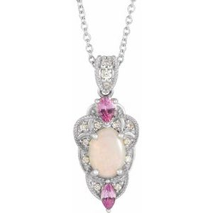 "14K White Opal, Pink Sapphire & 1/10 CTW Diamond Vintage-Inspired 16-18"" Necklace - Siddiqui Jewelers"