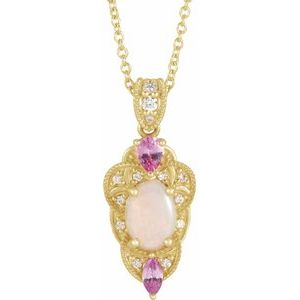 "14K Yellow Opal, Pink Sapphire & 1/10 CTW Diamond Vintage-Inspired 16-18"" Necklace - Siddiqui Jewelers"