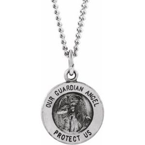 Sterling Silver 18 mm Guardian Angel Medal