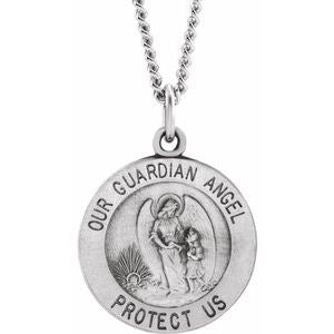 Sterling Silver 15 mm Guardian Angel Medal